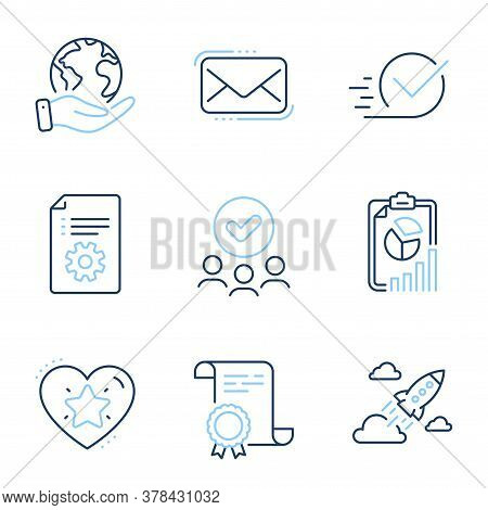 Messenger Mail, Technical Documentation And Report Line Icons Set. Diploma Certificate, Save Planet,