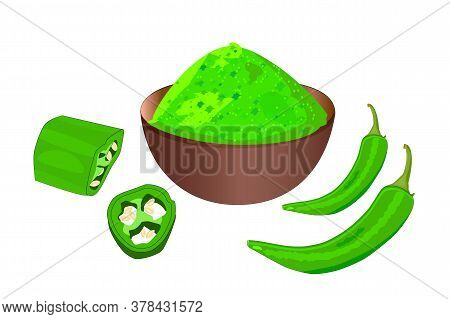 Cayenne Pepper Isolated On White Background. Green Hot Chili Pepper Pod And Bowl With Powder. Culina