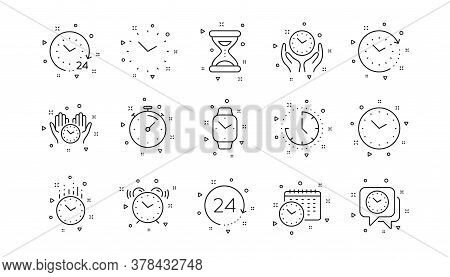 Timer, Alarm And Smartwatch. Time And Clock Line Icons. Time Management, 24 Hour Clock, Deadline Ala