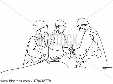 Single Continuous Single Line Drawing Group Of Team Surgeon Doctor Doing Surgery To The Critical Pat