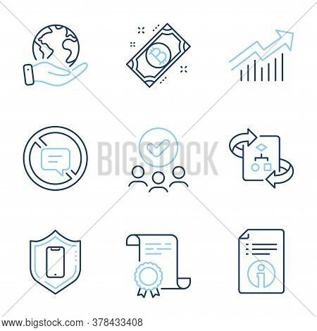 Smartphone Protection, Technical Algorithm And Demand Curve Line Icons Set. Diploma Certificate, Sav