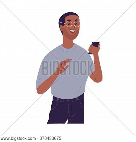 Laughing Casual Black Skin Guy Reading Funny Information At Smartphone Vector Flat Illustration. Smi