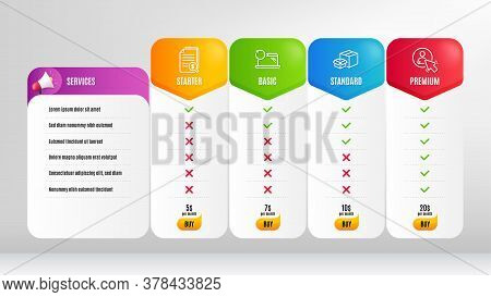 Recovery Laptop, Packing Boxes And Financial Documents Line Icons Set. Pricing Table, Price List. Us