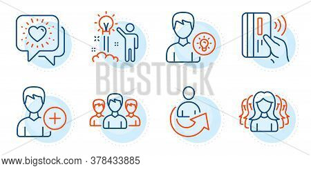 Person Idea, Creative Idea And Add Person Signs. Share, Women Group And Group Line Icons Set. Friend