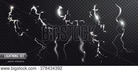 Vector Realistic Set Of Lightnings. Thunderstorm And Lightnings. Magic Electricity Lighting Effects.