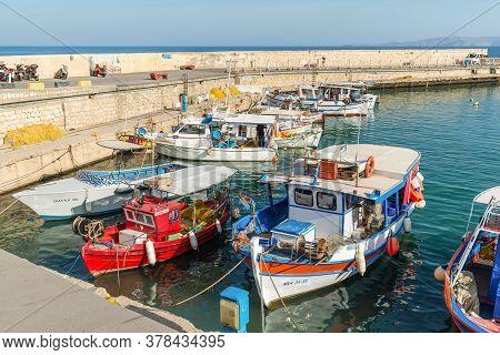 Heraklion, Greece - November 12, 2019: Wooden Fishing Boats In Port Of Heraklion, Crete Island, Gree