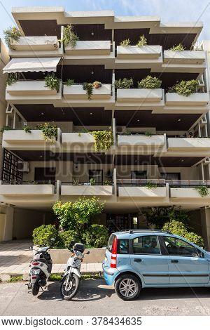 Heraklion, Greece - November 12, 2019: Facade Of A Residential Building In Heraklion, Crete Island,