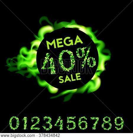 40 Percent Mega Sale. Green Fire Design On Black Background. Vector Illustration