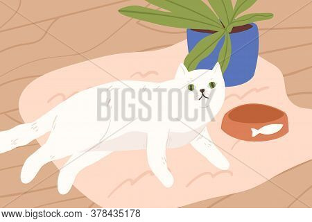 Cute White Cat Lying On Carpet Vector Flat Illustration. Adorable Cartoon Domestic Animal Relaxing N