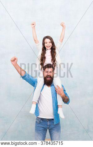 We Deserve Celebration. Happy Family Celebrate Holiday. Bearded Man Give Piggyback To Small Child. F