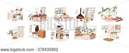 Set Of Stylish Mid Century Scandinavian Apartment Design Interiors. Cozy Furnished Living Room, Home