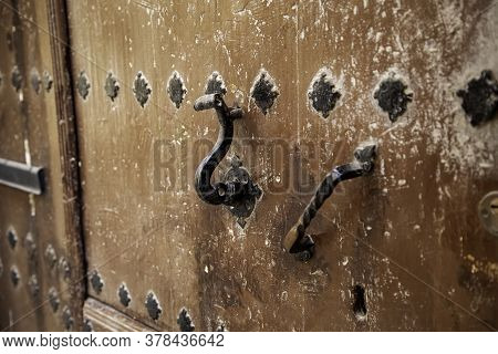 Old Brown Wooden Door With Lock