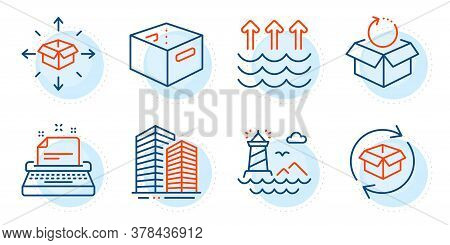 Lighthouse, Office Box And Skyscraper Buildings Signs. Return Parcel, Parcel Delivery And Evaporatio