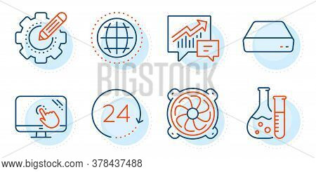 Computer Fan, Accounting And Touch Screen Signs. Mini Pc, Globe And Chemistry Lab Line Icons Set. 24