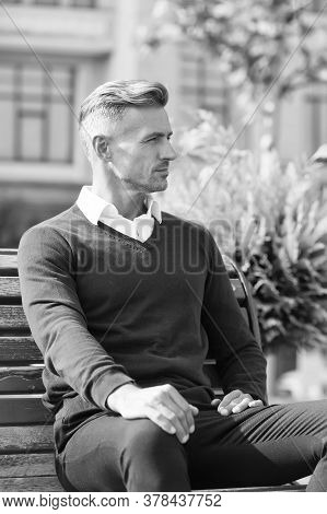 Lunch Break. Time For Yourself. Man In Formal Clothes Outfit Relax Sit Bench In Park. Businessman Fo