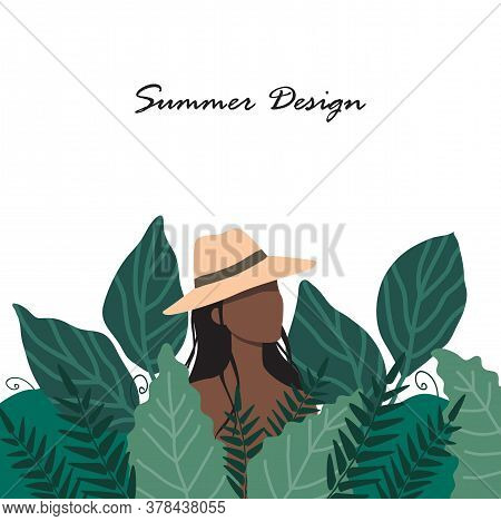 A Woman In A Straw Hat Stands In A Thicket Of Tall Grass