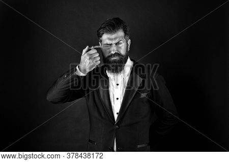 Stay Brutal. Bearded Man With Brutal Look. Brutal Businessman Hold Razor. Hipster Keep Sharp Blade A