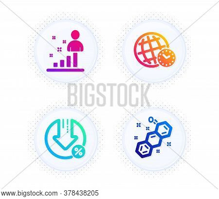Stats, Loan Percent And Time Zone Icons Simple Set. Button With Halftone Dots. Chemical Formula Sign