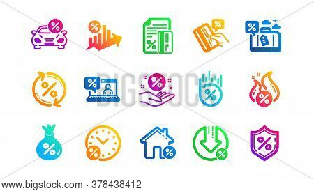 Investment, Interest Rate And Percentage Diagram. Loan Icons. Car Leasing Classic Icon Set. Gradient