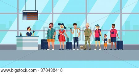 Check In Registration Airport Group Mixed Race Passengers Standing In Queue Departures Board. Color