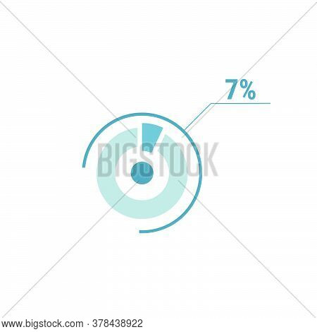 7 Seven Percent Vector Circle Chart, Percentage Diagram Graph For Web Ui Design, Flat Vector Illustr