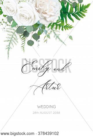 Wedding Invite, Invitation, Floral Save The Date Card With White, Ivory Rose Flowers, Eucalyptus Bra