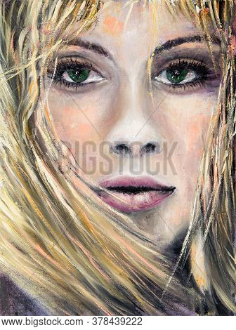Abstract Painting Of A Woman With Green Eyes On Canvas.modern Impressionism, Modernism,marinism
