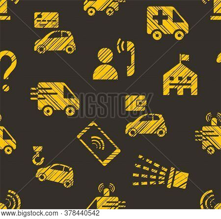 Emergency Service, Seamless Pattern, Color, Hatching, Gray With Yellow, Vector. Emergency Medical An