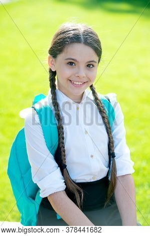 School Is Place To Grow. Happy Girl In School Uniform Sunny Outdoors. Little Child Back To School. S