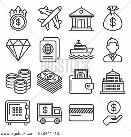 Millionaire And Big Money Icons Set On White Background. Vector