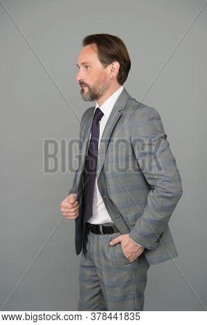 Reaching Your Goal. Bearded Man In Formalwear Grey Background. Businessman Has Beard. Hair Salon And