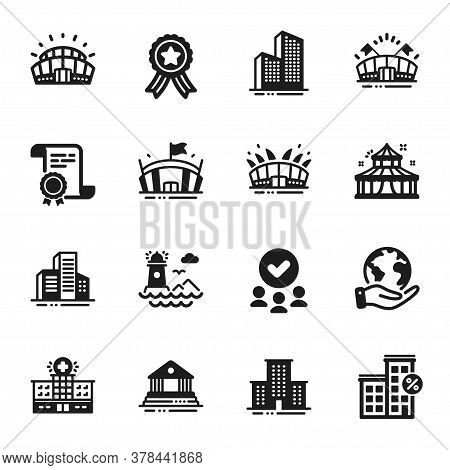 Set Of Buildings Icons, Such As Skyscraper Buildings, Lighthouse. Certificate, Approved Group, Save
