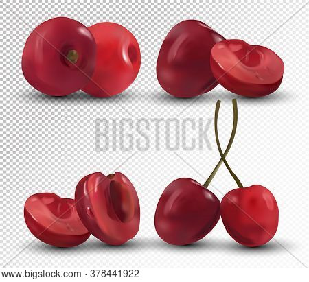 Fresh Cherries On Transparent Background. Set Red Cherries. Nature Product. 3d Realistic Berries. Ve