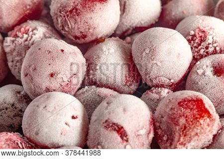 Frozen Cherries Covered With Hoarfrost, Texture Close Up