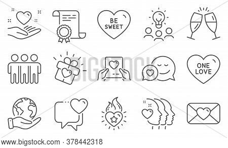 Set Of Love Icons, Such As Heart, Dating. Diploma, Ideas, Save Planet. Heart Flame, One Love, Friend
