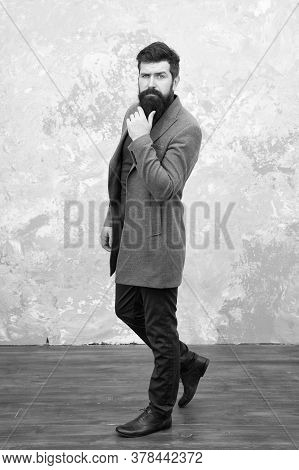 Good Looking Model. Street Style. Bearded Mature Hipster. Autumn Male Fashion. Brutal Man After Visi