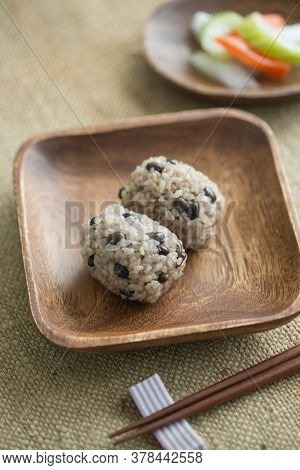 Rice balls made from brown rice red rice