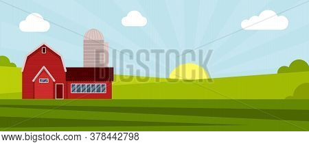 Country Farm House On A Green Meadow, Agricultural Construction. Flat Vector Illustration On A Backg