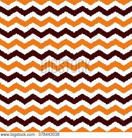 Halloween Seamless Zigzag Pattern, Vector Illustration. Chevron Zigzag Pattern With Orange And Brown