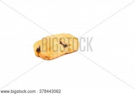 Freshly Baked Homemade Raisin Cookies Isolated On A White Background. Homemade Shortbread Cookies. C