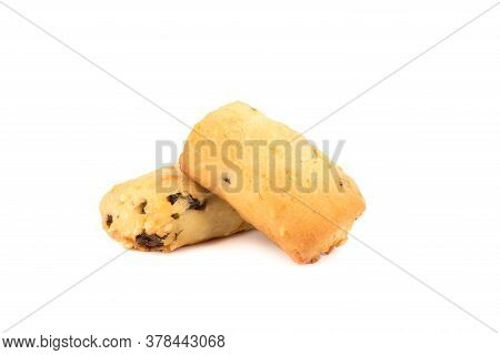 Two Freshly Baked Homemade Cookies With Raisins Isolated On A White Background. Homemade Shortbread