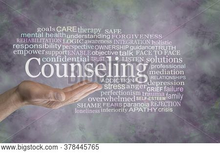 Male Counseling Word Tag Cloud - Man With Open Palm  With The Word Counselling Above Surrounded By A