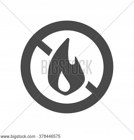 Fire Prohibition Hazard Risk Sign Icon And Stop Flame Ignition Risk Warning Notice Area Pictogram Ve