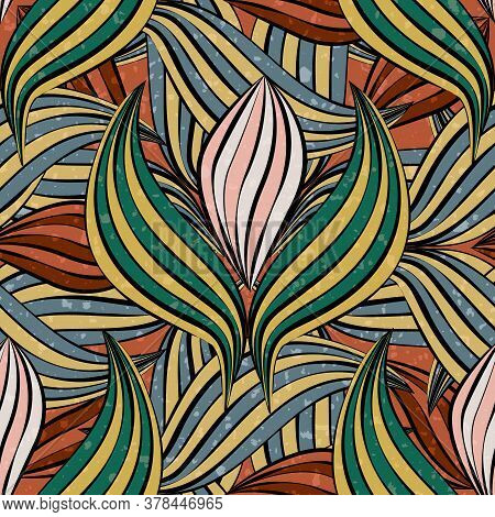 Linocut Style Leaves Botanical Seamless Vector Pattern Background. Backdrop Of Green, Mustard Yellow