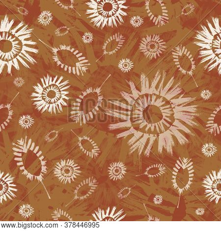 Raster Ethnic And Tribal Motifs Seamless Pattern Background. Earthy Painterly Backdrop With Sun, Sta