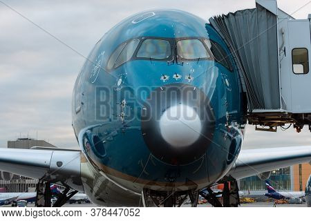 October 29, 2019, Moscow, Russia. Plane Airbus A350-900 Vietnam Airlines At Sheremetyevo Airport In