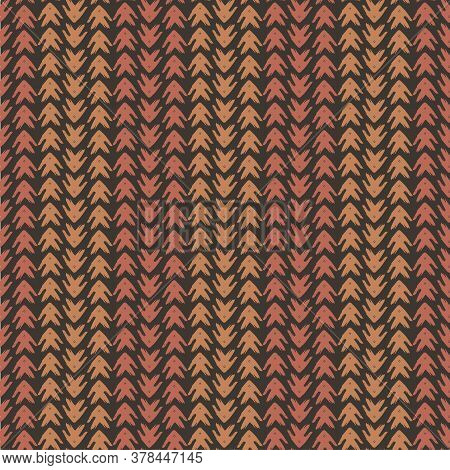 Vector Tribal Arrow Style Grunge Seamless Pattern Background. Painterly Chevrons In Vertical Brown A