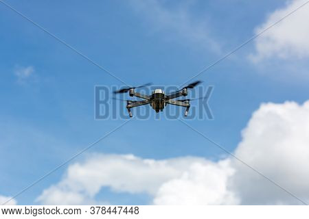 Drone Copter Flying With Digital Camera.drone With High Resolution Digital Camera.