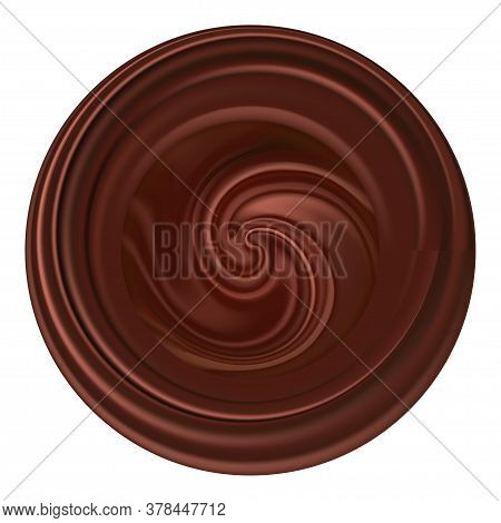 Chocolate Wave Emblem, Logo Or Icon. Round Shape Sign With Swirly Wave, Dark Brown Chocolate Texture
