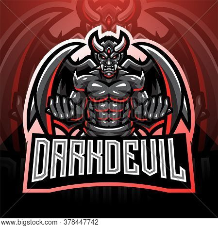 Dark Devil Esport Mascot Logo With Text